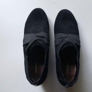 Donald J Pliner black suede wedge booties
